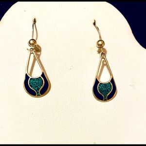 Sterling Turquoise and Black Earrings